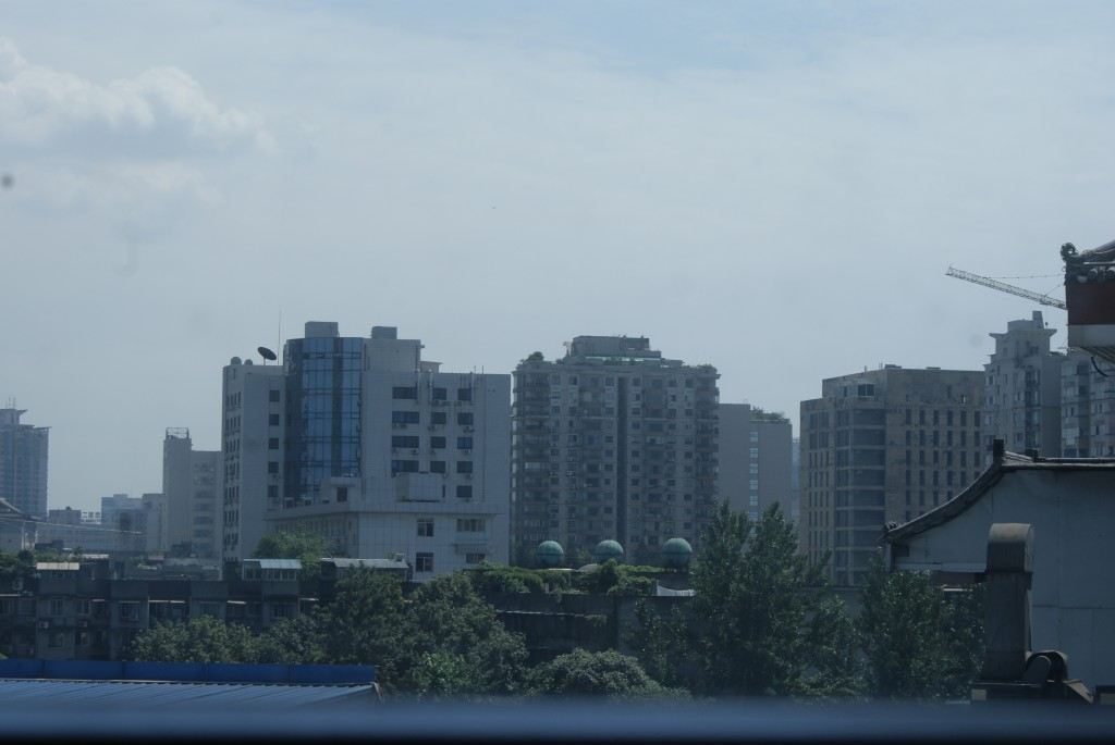 Vista de la ciudad de Chengdu, desde la ventana del hotel.